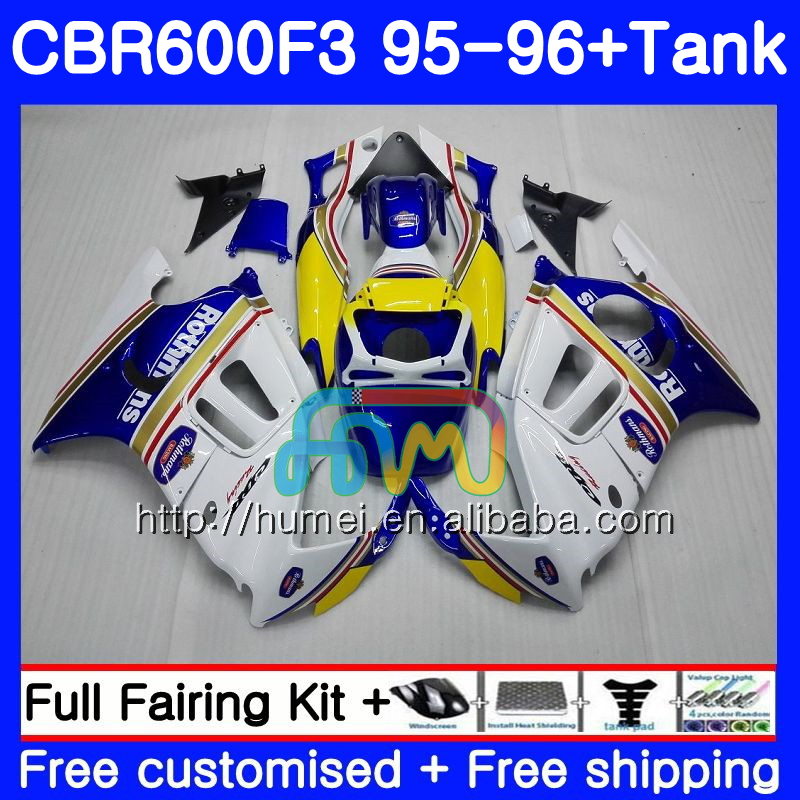 Body For HONDA CBR600RR F3 CBR600 F3 95 96 CBR600FS 13HM20 Rothmans Blue CBR 600F3 FS CBR600F3 CBR 600 F3 1995 1996 Fairing kit