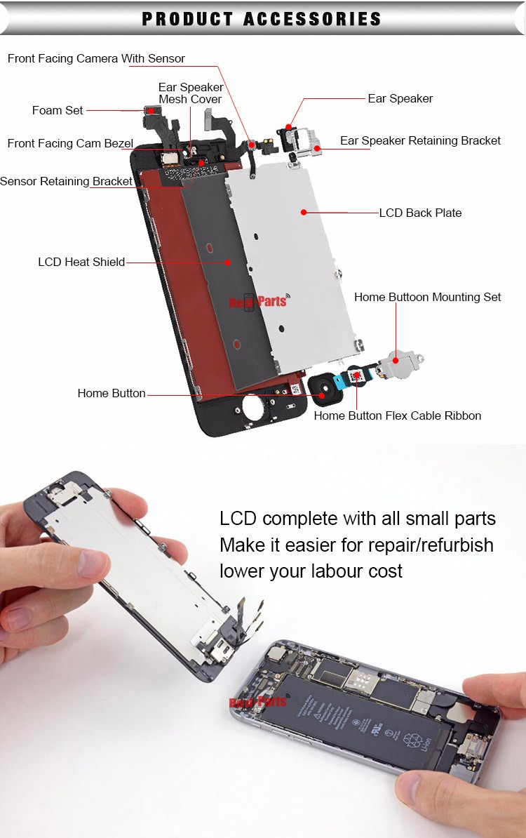 China made 7 years experience LCD screen and digitizer assembly for iPhone 6s
