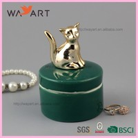 Funny Green Round Shaped Ceramic Jewel Case With Dog
