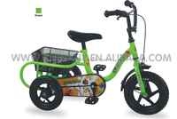 High quality single speed 3 wheel children tricycle/trike with rear basket for sale 7018