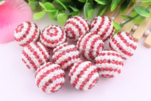 Wow!!!Latest 20mm chunky resin rhinestone striped beads in bulk!Wholesale large charming rhinestone beads for jewelry making!