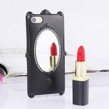 New Eye-catching Rose Design Make Up Mirror Back Hard Protective Case for iPhone5/5S