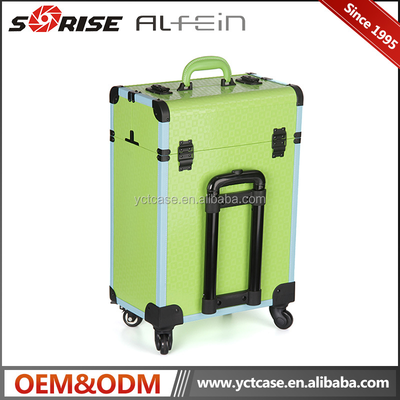 Alibaba Trade Assurance professional soft rolling makeup case drawers pretty train case makeup for salons