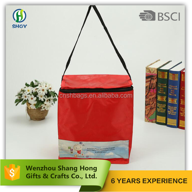 2017 retailer 600d polyester lunch tote bag kids/red cheap cooler bag