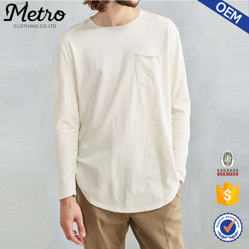 Custom Men Curved Hem Loose Long-Sleeve Linen T Shirts