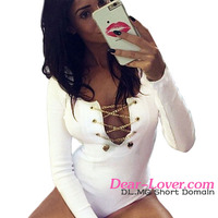 Women Sexy Bodysuit 2016 Hotest New Cheap White Thread Lace up V Neck Teddy Lingerie