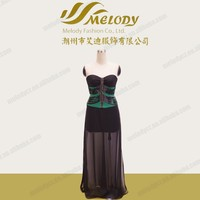 Green and black temperament and interest part dress with chiffon coat