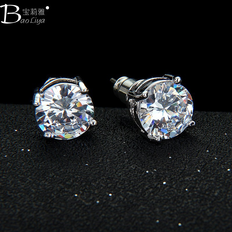 New arrivel wholesale Cubic Zirconia round stud earrings for boys
