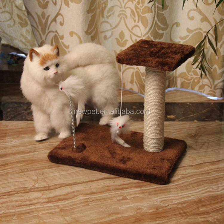 Factory wholesale attractive design soft cat tree interactive toy cool cat scratching post with ball or mouse