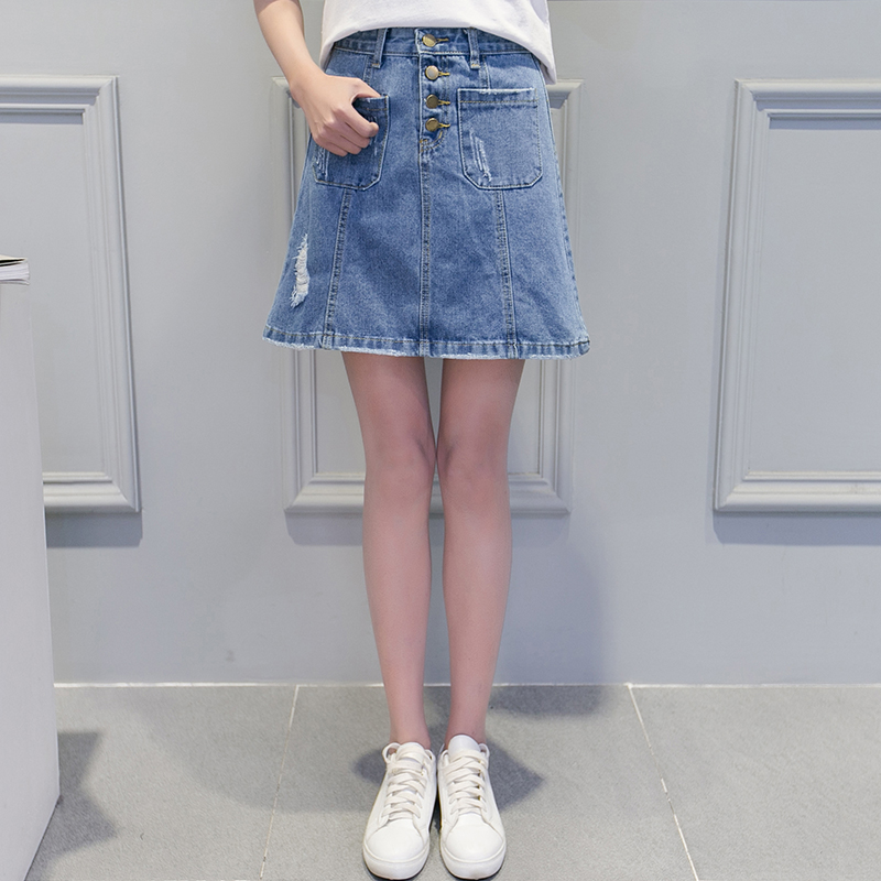 Summer Casual Girl Style Ripped Slit Light Blue Pleated Ladies Denim Jean Skirt