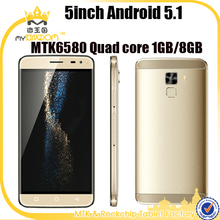 5inch Android 5.1 MTK6580 Quad core mobile phone lowest price with 3 SIM card