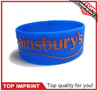 No Minumum Promotional Custom Debossed and Ink Filled 1 Inch Black Silicone Wristbands