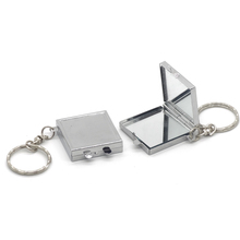 Delicate square metal keychain pocket mirror