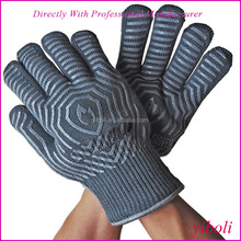 Dark grey CE mark Silicone strips on both side customized high quality oven gloves