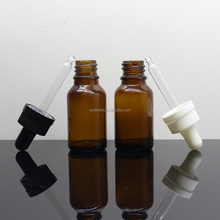 1/2 oz 15 ml amber electronic cigarette oil glass bottle with black child resistant dropper top Round-1205A