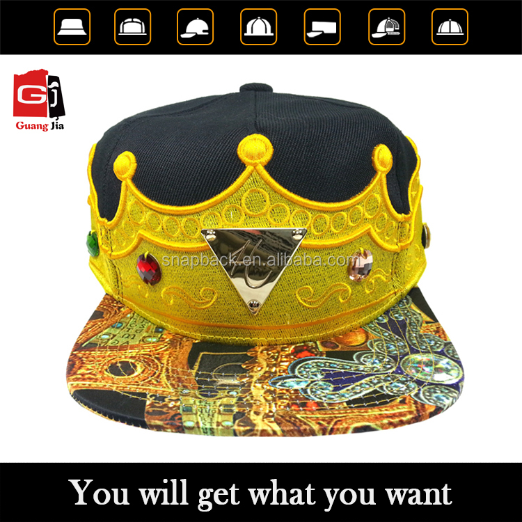 Last Design 2016 Custom Unique 3D Embroidery King Crown Flat Bill Snapback Cap Wholesale