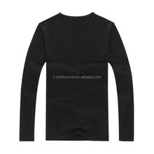bulk plain white black gray 60% cotton 40% polyester single jersey v neck tight long sleeve t-<strong>shirt</strong> for <strong>man</strong>