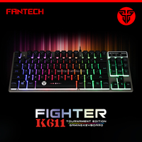 Fantech K611 Membrane Wired Gaming Keyboard for PC with Ergonomic Cool LED Backlit Design - Black