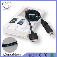 Ultra thin micro usb cable 1m led flowing current light up charging and data sync cable for cell phone and media player