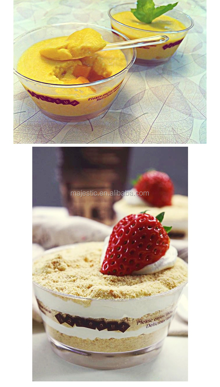 Transparent Hard Plastic Disposable Round Mousse Tiramisu Jello Pudding Cup With Lid