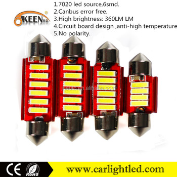 Canbus error free led drl turn signal light unique 7020 chips 6smd 12v 24v festoon led car bulb