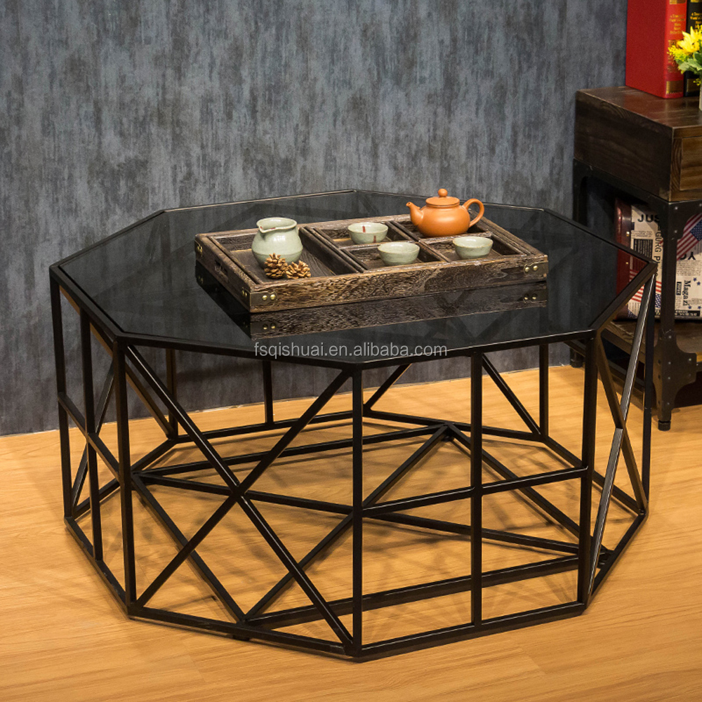 Modern diamond shape iron base glass coffee table for living room designs