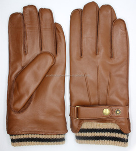 Men's Touchscreen lambskin Leather Gloves with Knitted Cuffs
