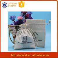 Promotional Custom Small Calico Cotton Drawstring Bag