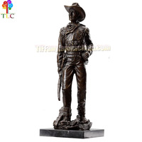B-9 The cowboy with a gun bronze art deco sculpture bust statues base design new nouveau wholesale china gift