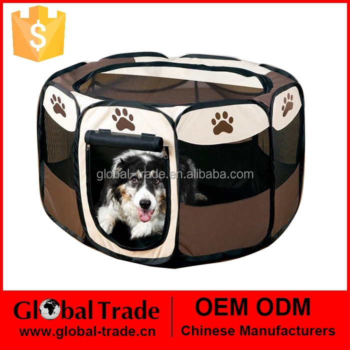 Fabric Pet Playpen Dog Cat Puppy Pig Play Pen Run New Dark Brown Soft Cages 450088