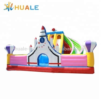 Hot sale inflatable rocket bouncer castle with slide