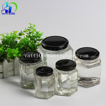 Wholesale 250ml 8oz custom hexagonal honey jar glass mason jam jar with metal lid