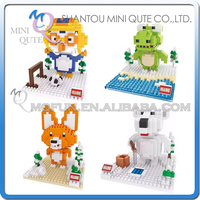 Mini Qute HSANHE 4 styles kawaii Penguin Frog Fox Bear plastic building blocks brick cartoon model educational toy