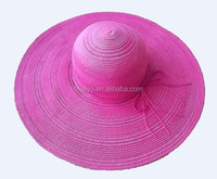 Pink straw hats with big brim for Girls , Summer foldable straw hat