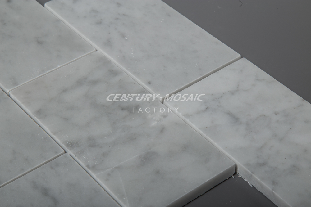 Hot Selling Polished Italian 3''*6'' Brick Natural Carrara White Marble