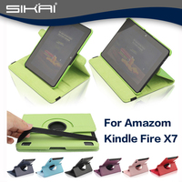 SIKAI 360 Rotating PU Leather Case for Amazon Kindle Fire HDX7 Inch Smart Cover Auto Wake/Sleep Cover