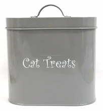 Oval Shape Metal Dog Dry Food Canister /Pet Treats Storage Container Canister Tin Box