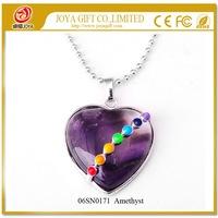 Natural Amethyst Heart Shape Gemstone Pendant Necklace 07SN0171 Seven Chakra Reiki set Semi preicous Stone Jewelry wholesale