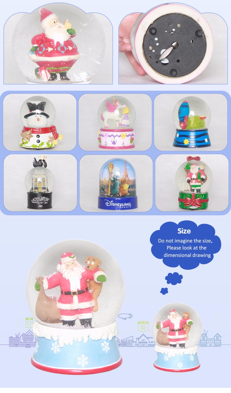 Fashionable custom musical snowglobe lighted water globes