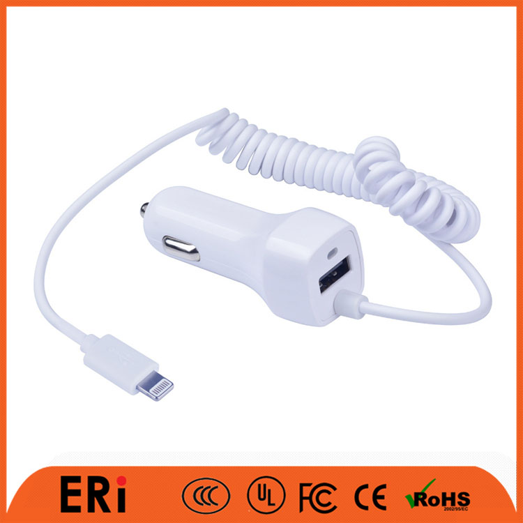 Low price high quality mini 1 port car usb charger coloful mobile phone for iphone7 with cable