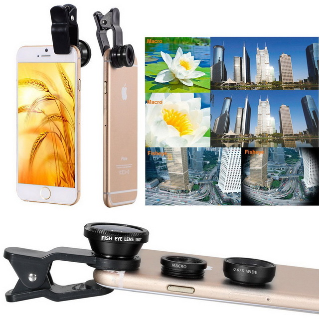 3 in 1 Clip-On 180 Degree Supreme Fisheye +0.67x Wide Angle + Macro Lens Camera Photo Kit camera lens for galaxy note 2
