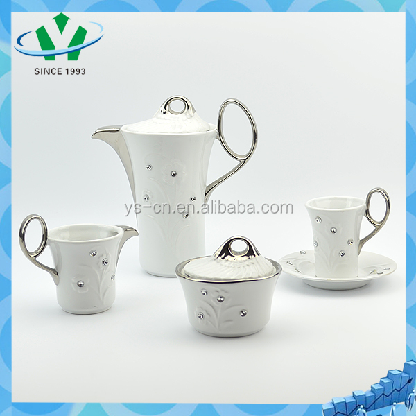 Silver plated ceramic tea cup set prices with diamante