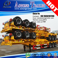 Philippines market second hand 3 axles skeleton container 40ft transporting semi trailer for Davao port