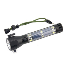 LED Multi-functional Vehicle Emergency Outdoor solar safety hammer flashlight torch with compass cutter and magnet