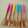 Bamboo Wooden Silicone Handle Kitchen Utensils