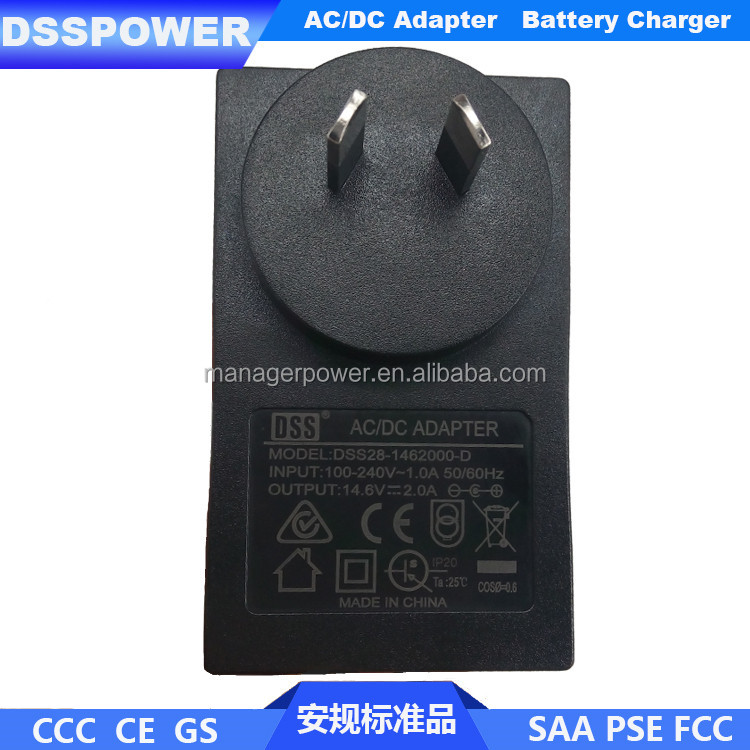 Quality assurance 14.6V2A AU standard plug 4s lifepo4 battery charger with SAA certification