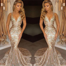 Luxury Gold Formal Party Wear Dress 2018 Mermaid V Neck Sexy African Prom Evening Gowns