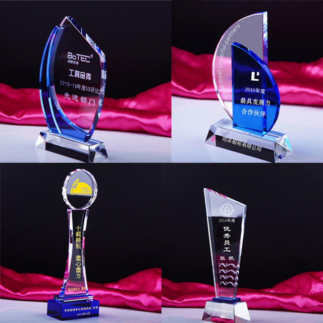 Hot sale customized crystal plaque glass trophy award