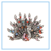 Wholesale Yiwu Retro folk style Colorful Peacock exaggerated opening alloy ring
