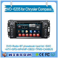 Hot selling Chrysler Compass car dvd player with gps navigation and bluetooth HD 2 din gps navigation jeep car dvd player